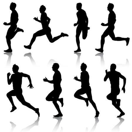 road runner: Set of silhouettes Runners on sprint Illustration