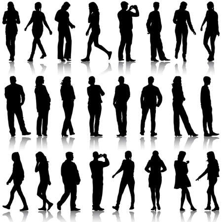 Black silhouettes of beautiful men and women on white background