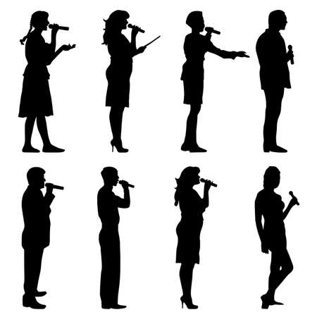 group fitness: Black silhouettes of men and women singing karaoke on white background