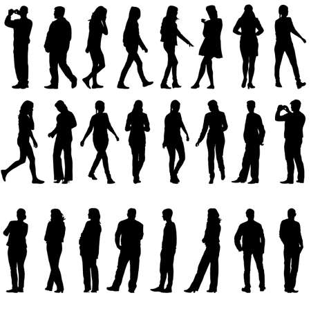 working woman: Black silhouettes of beautiful men and women on white background