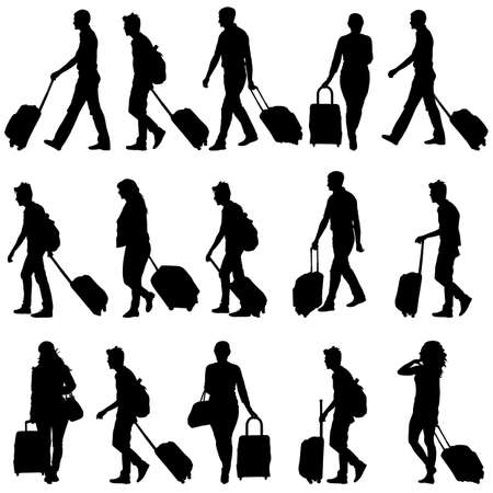 Black silhouettes travelers with suitcases on white background  Vettoriali