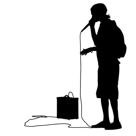 Silhouette of the guy  beatbox with a microphone   向量圖像