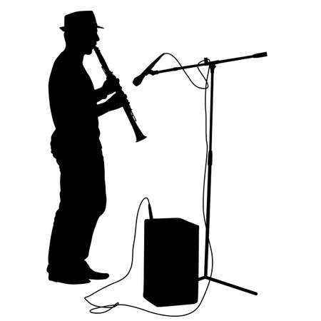Silhouette musician plays the clarinet  Vector