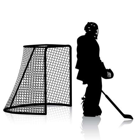 hockey goal: Silhouettes of hockey player. Isolated on white. illustrations.