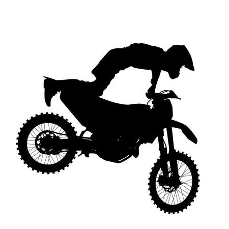 freeride: Black silhouettes Motocross rider on a motorcycle. Vector illustrations.