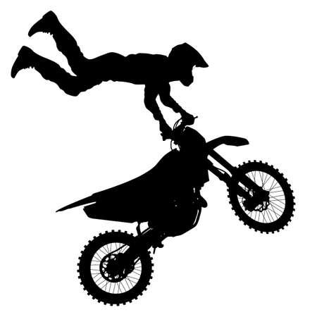 Black silhouettes Motocross rider on a motorcycle. Vector illustrations. Stock fotó - 31715756