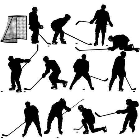hockey stick: Set of silhouettes of hockey player. Isolated on white. illustrations.