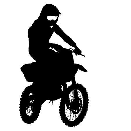 freeride: Siluetas negras Piloto de motocross en una motocicleta. Ilustraciones vectoriales.