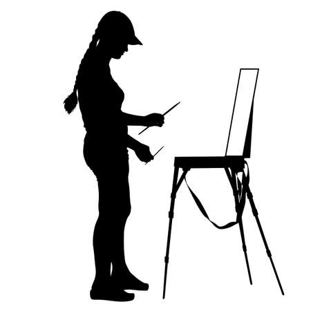 renaissance woman: Silhouette, artist at work on a white background, vector illustration.