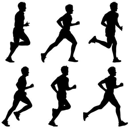 silueta masculina: Conjunto de siluetas. Corredores en Sprint, hombres. ilustración vectorial.