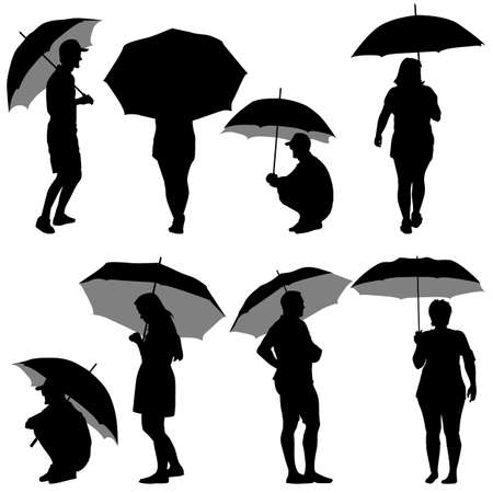 Black silhouettes man and woman under umbrella. Vector illustrations. Vector