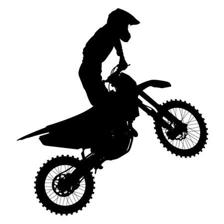 motorcross: Siluetas negras Piloto de motocross en una motocicleta. Ilustraciones del vector.