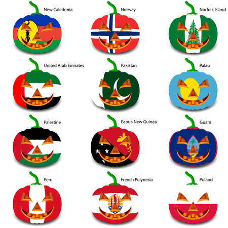 palau: Set pumpkins for Halloween as a flags of the world.
