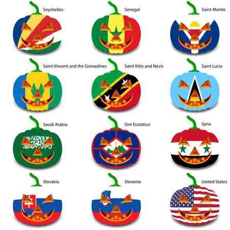 cutting sticker: Set pumpkins for Halloween as a flags of the world.
