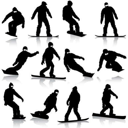 Black silhouettes set snowboarders on white background.  Vector