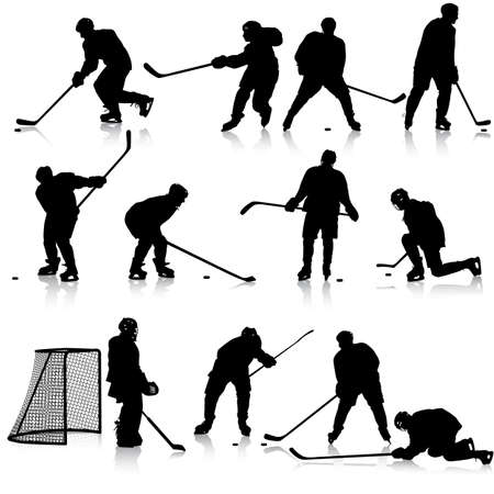 hockey equipment: Set of silhouettes of hockey player. Isolated on white. illustrations.