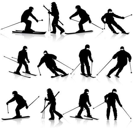 the slope: Mountain skier  man speeding down slope.