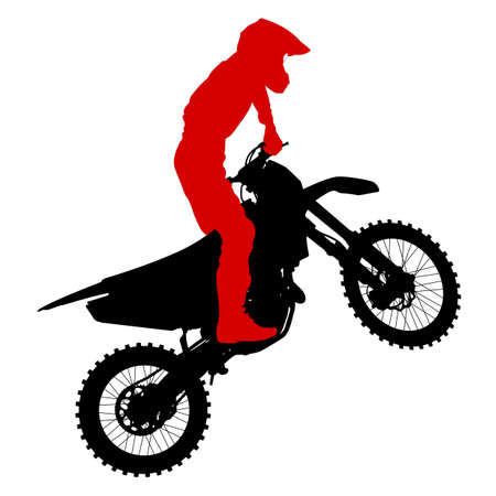 freeride: Black silhouettes Motocross rider on a motorcycle.