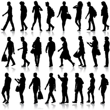 Black silhouettes of beautiful mans and women on white background.  Stock Illustratie