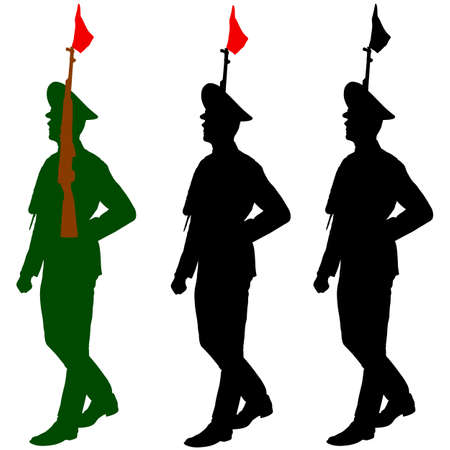 Silhouette soldiers during a military parade.  Vector