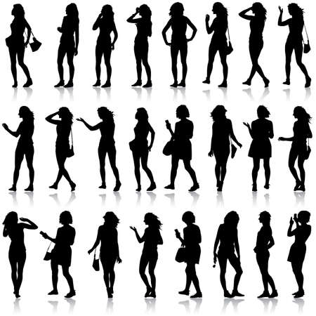 silhouette of female characters: Black silhouettes of beautiful mans and womans on white background.