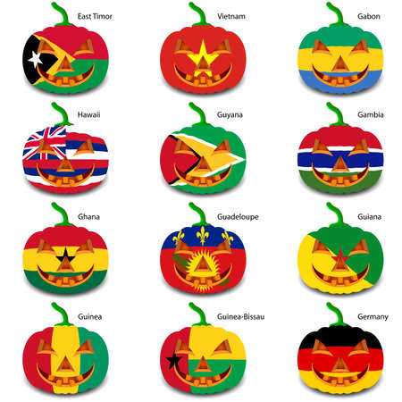 Set pumpkins for Halloween as a flags of the world. Vector