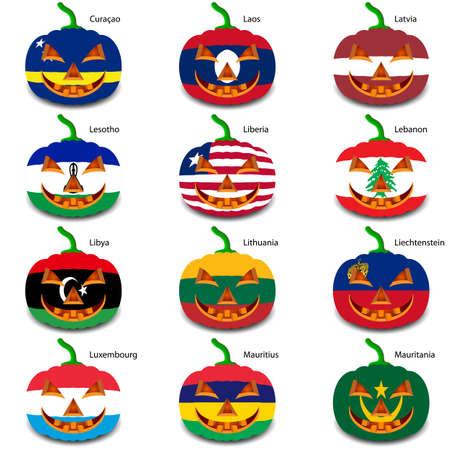 liechtenstein: Set pumpkins for Halloween as a flags of the world.