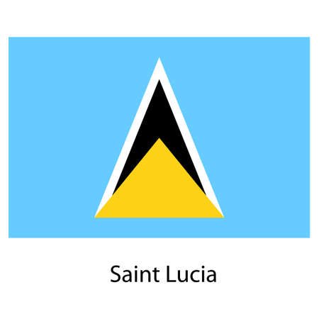 saint lucia: Flag  of the country  saint lucia. Vector illustration.  Exact colors.  Stock Photo