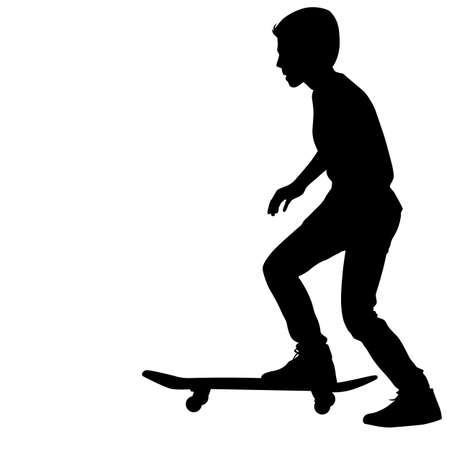 Set of skateboarders silhouette. Vector illustration. illustration