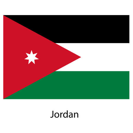 exact: Flag  of the country  jordan. Vector illustration.  Exact colors.