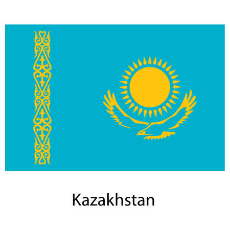 exact: Flag  of the country  kazakhstan. Vector illustration.  Exact colors.