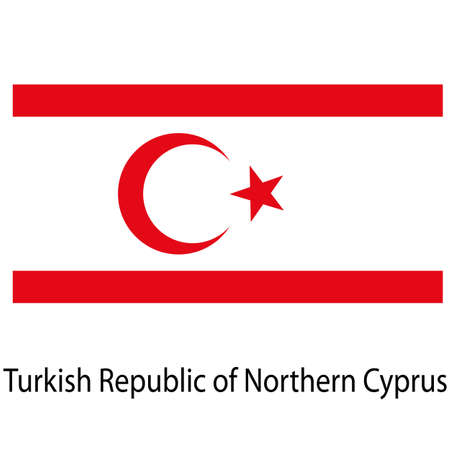 Flag  of the country  turkish republic of northern cyprus. Vector illustration.  Exact colors.