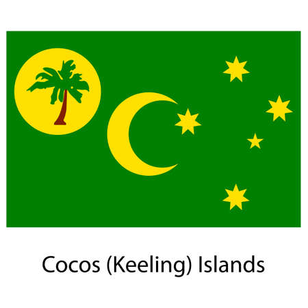 exact: Flag  of the country  cocos islands. Vector illustration.  Exact colors.