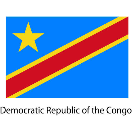 democratic republic of the congo: Flag  of the country  democratic republic congo. Vector illustration.  Exact colors.