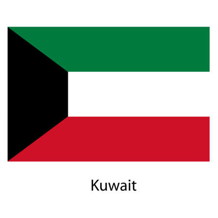 exact: Flag  of the country  kuwait. Vector illustration.  Exact colors.
