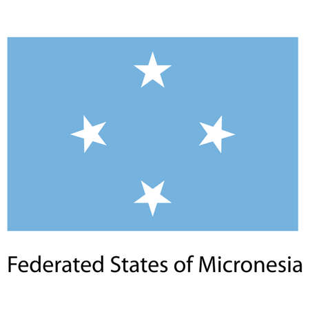 micronesia: Flag  of the country  federated states of micronesia. Vector illustration.  Exact colors.