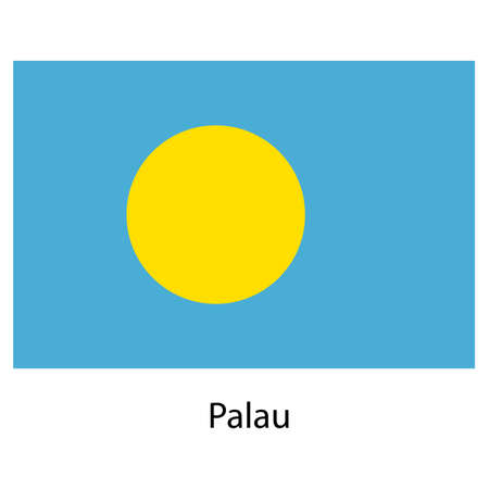 palau: Flag  of the country  palau. Vector illustration.  Exact colors.  Stock Photo