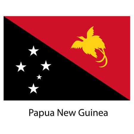 Nuova Guinea: Bandiera del paese Papua Nuova Guinea. Illustrazione vettoriale. I colori esatti.