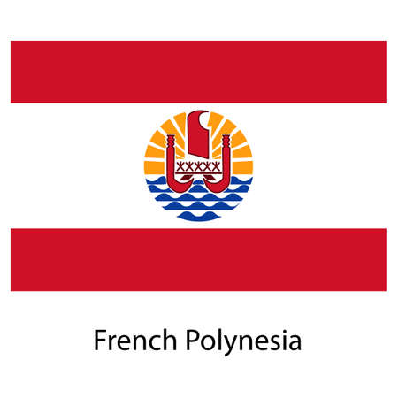 Flag  of the country  french polynesia. Vector illustration.  Exact colors.  illustration
