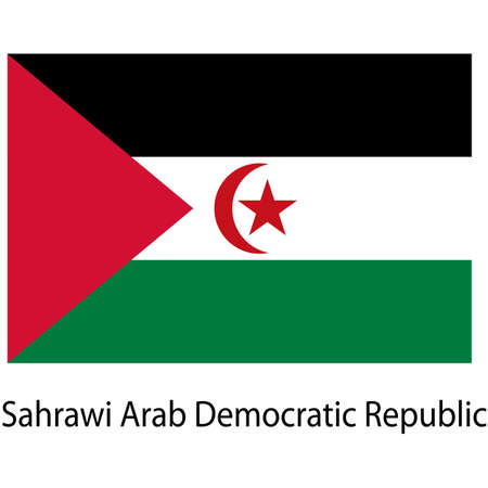 sahrawi arab democratic republic: Flag  of the country  sahrawi arab democratic republic. Vector illustration.  Exact colors.  Stock Photo