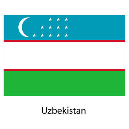uzbekistan: Flag  of the country  uzbekistan. Vector illustration.  Exact colors.  Stock Photo