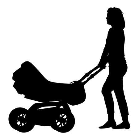 Silhouettes  walkings mothers with baby strollers. Vector illustration. illustration
