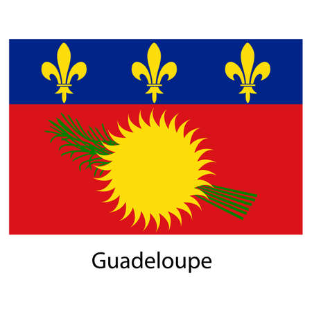 guadeloupe: Flag  of the country  guadeloupe. Vector illustration.  Exact colors.  Stock Photo