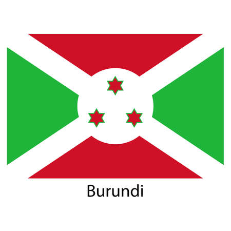 burundi: Flag  of the country  burundi. Vector illustration.  Exact colors.  Stock Photo