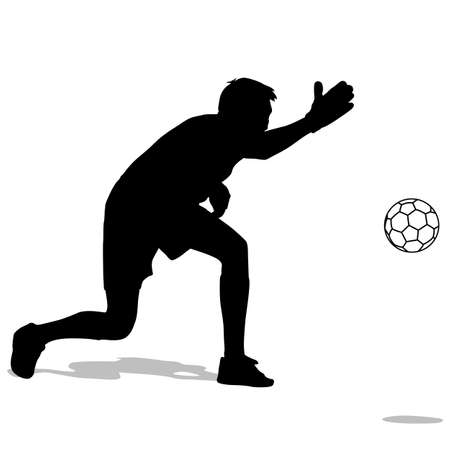 silhouettes of soccer players with the ball. Vector illustration. illustration