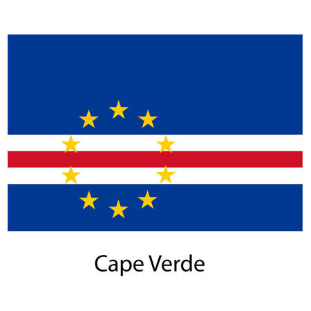 cape verde flag: Flag  of the country  cape verde. Vector illustration.  Exact colors.  Stock Photo