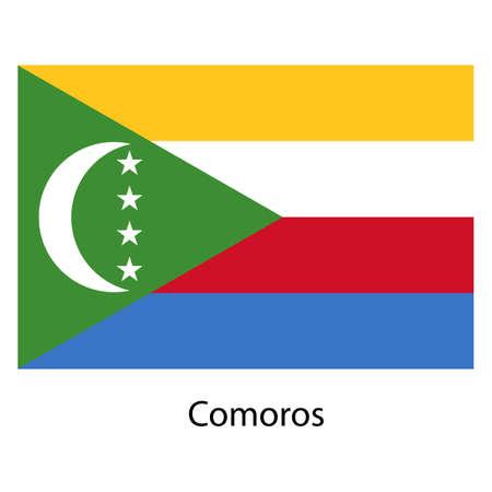 comoros: Flag  of the country  comoros. Vector illustration.  Exact colors.