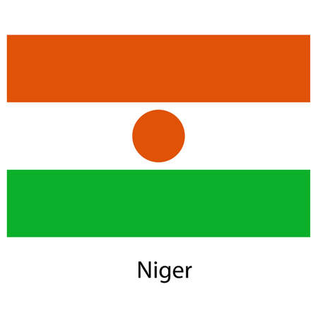 niger: Flag  of the country  niger. Vector illustration.  Exact colors.  Stock Photo