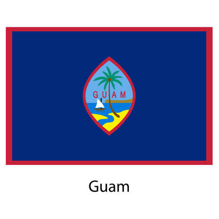 guam: Flag  of the country  guam. Vector illustration.  Exact colors.  Stock Photo