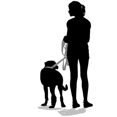 Silhouettes of people and dogs. Vector illustration. Stock Photo